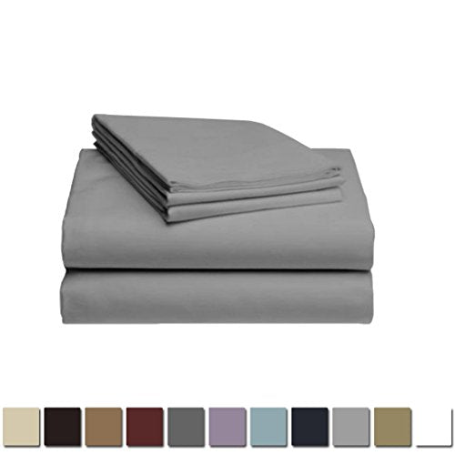 LuxClub 1500 Supreme Collection Triple Stitch Embroidery Sheet Set - 100% Microfiber - Wrinkle Free, Stronger & Softer than Cotton - Silver California King