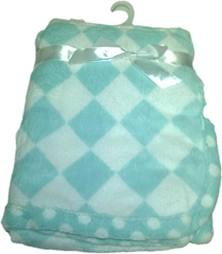 LuxClub Premium Super Plush 30 x 40 Baby Blanket with Colorful Print-Checkerboard Green