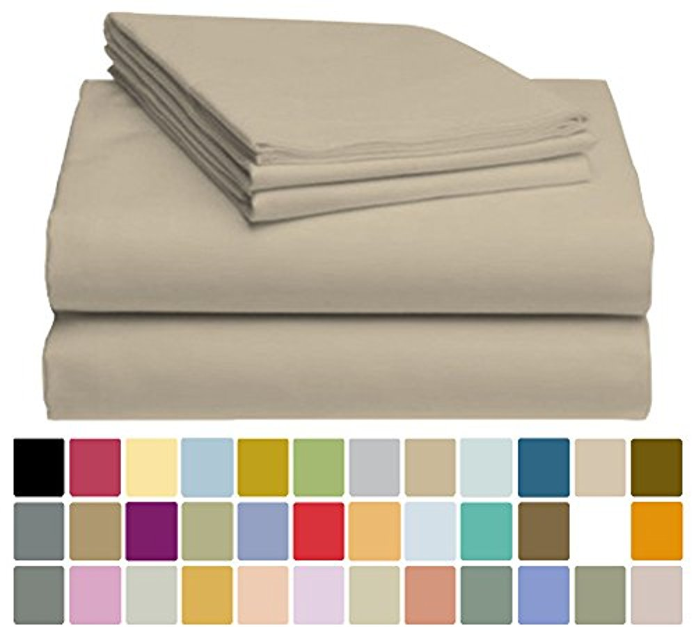 LuxClub Bamboo Sheet Set - Viscose from Bamboo - Eco Friendly, Wrinkle Free, Hypoallergentic, Antibacterial, Moisture Wicking, Fade Resistant, Silky, Stronger & Softer than Cotton - Taupe Full