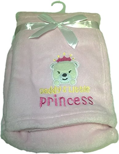LuxClub Premium Super Plush 30 x 40 Baby Blanket with Cute Embroidery Character or Phrase - Teddy Bear - Daddys Little Princess - Pink