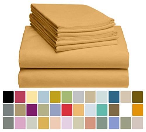 6 PC LuxClub Bamboo Sheet Set w/ 18 inch Deep Pockets - Eco Friendly, Wrinkle Free, Hypoallergentic, Antibacterial, Fade Resistant, Silky, Stronger & Softer than Cotton - Sand Stone California King
