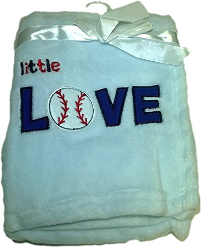 LuxClub Premium Super Plush 30 x 40 Baby Blanket with Cute Embroidery Character or Phrase - Little Love - Blue