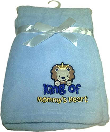 LuxClub Premium Super Plush 30 x 40 Baby Blanket with Cute Embroidery Character or Phrase - Lion - King of Mommys Heart - Blue