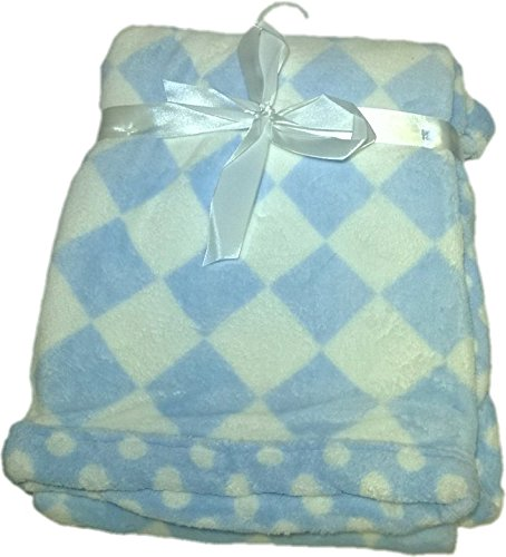 LuxClub Premium Super Plush 30 x 40 Baby Blanket with Colorful Print-Checkerboard Blue