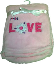 LuxClub Premium Super Plush 30 x 40 Baby Blanket with Cute Embroidery Character or Phrase - Little Love - Pink