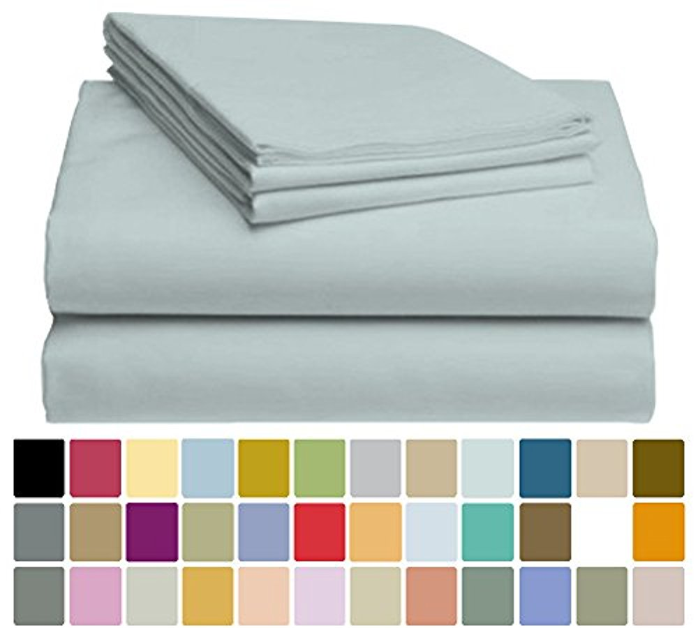 LuxClub Bamboo Sheet Set - Viscose from Bamboo - Eco Friendly, Wrinkle Free, Hypoallergenic, Antibacterial, Moisture Wicking, Fade Resistant, Silky & Softer than Cotton - Light Teal - California King