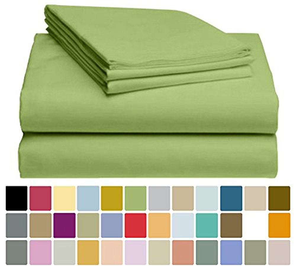 LuxClub Bamboo Sheet Set - Viscose from Bamboo - Eco Friendly, Wrinkle Free, Hypoallergenic, Antibacterial, Moisture Wicking, Fade Resistant, Silky & Softer than Cotton - Lime - California King