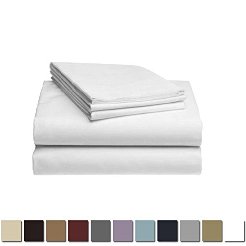 LuxClub 1500 Supreme Collection Triple Stitch Embroidery Sheet Set - 100% Microfiber - Wrinkle Free, Stronger & Softer than Cotton - White California King
