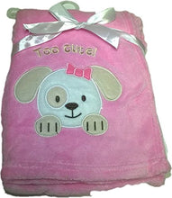 LuxClub Premium Super Plush 30 x 40 Baby Blanket with Cute Embroidery Character or Phrase - Puppy Dog - Pink