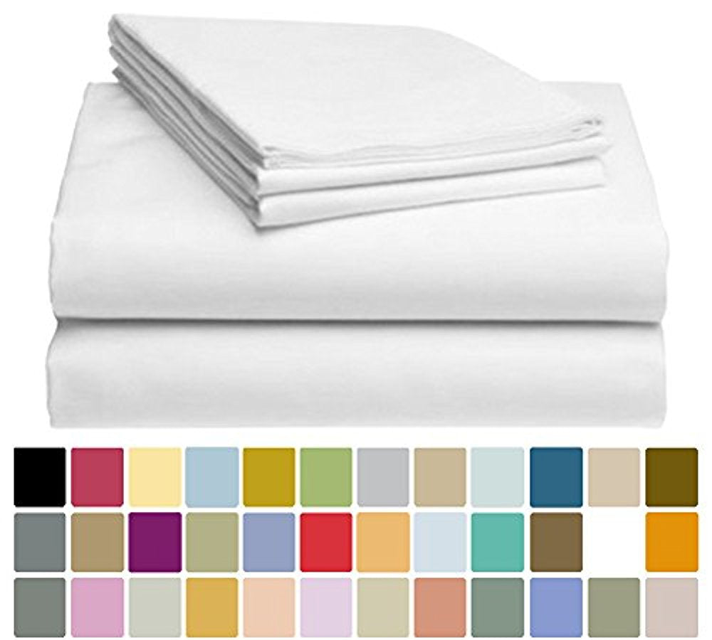 LuxClub Bamboo Sheet Set - Bamboo - Eco Friendly, Wrinkle Free, Hypoallergenic, Antibacterial, Moisture Wicking, Fade Resistant, Silky, Stronger & Softer than Cotton - Whiter White - California King