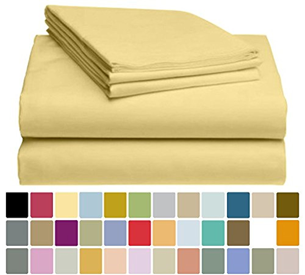 LuxClub Bamboo Sheet Set - Viscose from Bamboo - Eco Friendly, Wrinkle Free, Hypoallergenic, Antibacterial, Moisture Wicking, Fade Resistant, Silky, Stronger & Softer than Cotton - Yellow - Queen