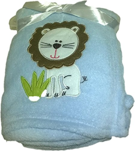 LuxClub Premium Super Plush 30 x 40 Baby Blanket with Cute Embroidery Character or Phrase - Lion - Blue