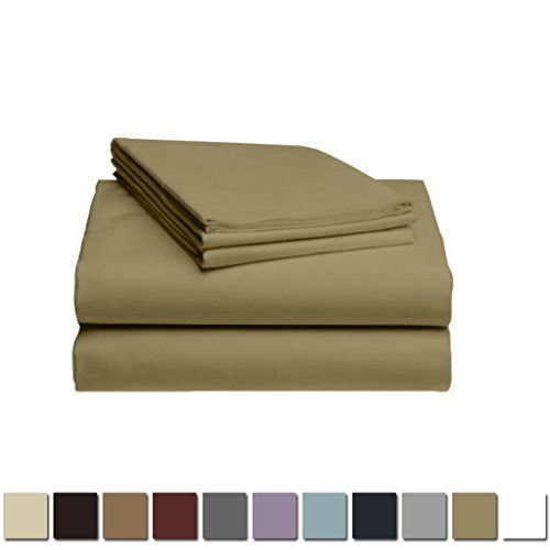 LuxClub 1500 Supreme Collection Triple Stitch Embroidery Sheet Set - 100% Microfiber - Wrinkle Free, Stronger & Softer than Cotton - Taupe California King