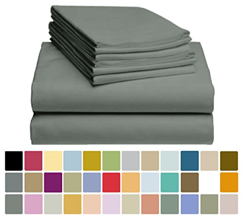 6 PC LuxClub Bamboo Sheet Set w/ 18 inch Deep Pockets - Eco Friendly, Wrinkle Free, Hypoallergentic, Antibacterial, Fade Resistant, Silky, Stronger & Softer than Cotton - Forrest Green King