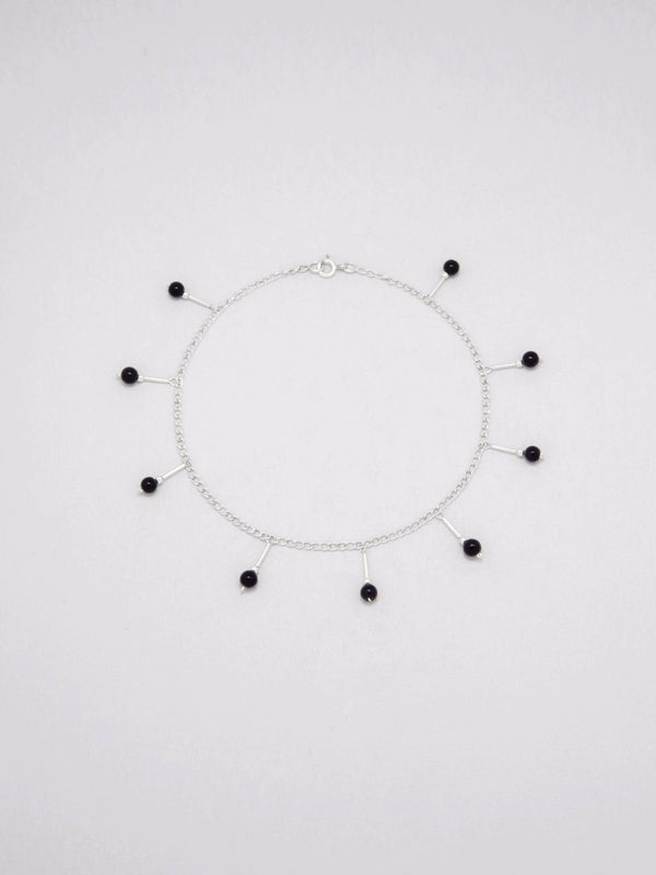 Anklet Sterling silver embellished with color glass.
