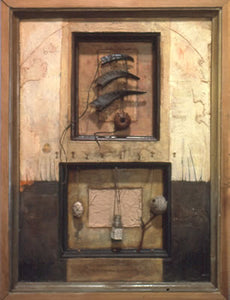 "Dahab. wood, oil and collage on masonite, various objects found by the Red Sea: goat horns, buoy, glass vial, etc. 25″x20″x3,"" 2002"