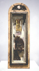 "Temple for Hugh. wood, oil, resin, straw, fragment of deer skull, twigs. 18″x6″x5,"" 1999"