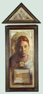 "Natalia. oil and mixed media on wood, maple seeds, fabric. 4″x20″x3,"" 2001"