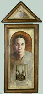 "Rebecca. oil and mixed media on wood, stones, bird's nest. 4″x20″x3,"" 2001"