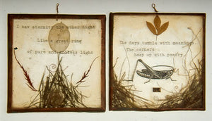 """resin with found objects and texts embedded inside, copper. avg. size 5″x5″x0.5,"""" 2004"""