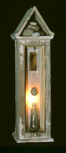 "Untitled. wood, stones, resin, antique bottle, feather, light. 24″x6″x6,"" 2002"