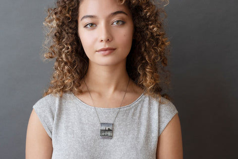 Model wearing Crystal Home Necklace