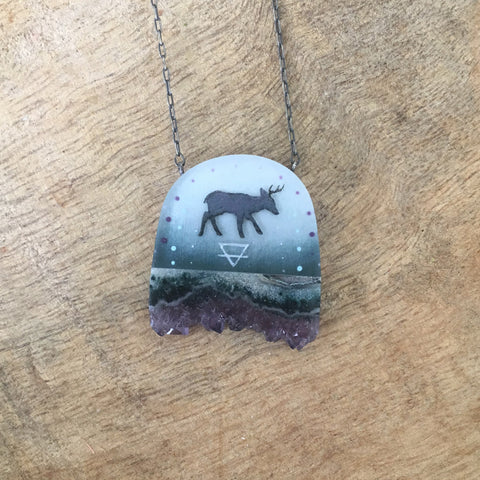 Crystal Earth Deer Necklace
