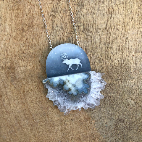 Crystal Caribou Necklace