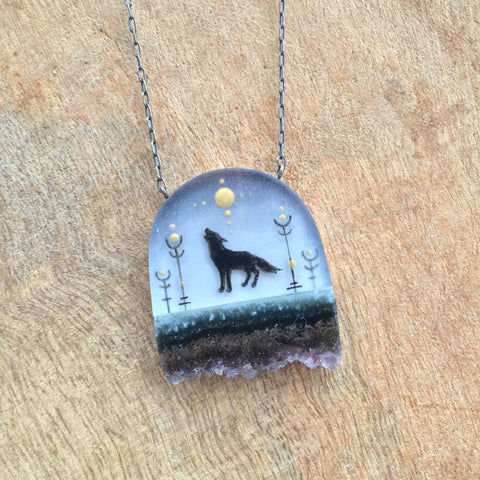 Crystal Wolf Necklace