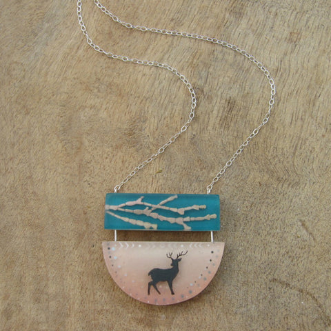 Coralline deer necklace