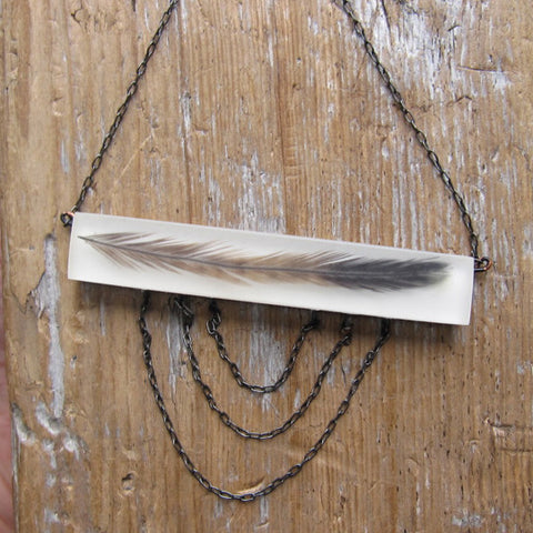 Emu feather necklace