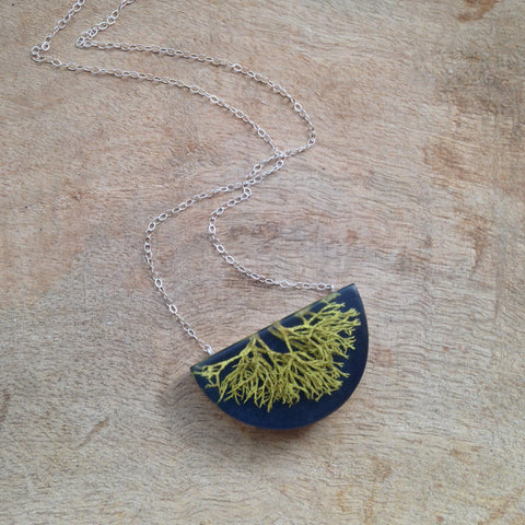 Oregon lichen half moon necklace