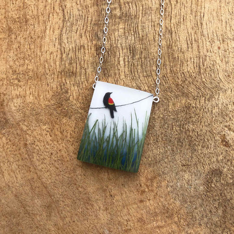 Red Winged Blackbird Necklace