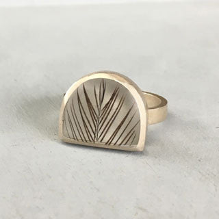 Half moon feather ring