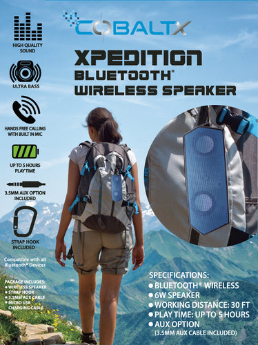 XPEDITION Rugged Portable Wireless Bluetooth Speaker with Strap Hook