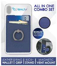 All In One Leather Phone Ring Wallet Combo w/ matching Magnetic Mount