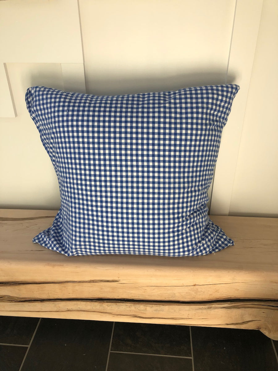 Royal Blue Gingham Check Pillow