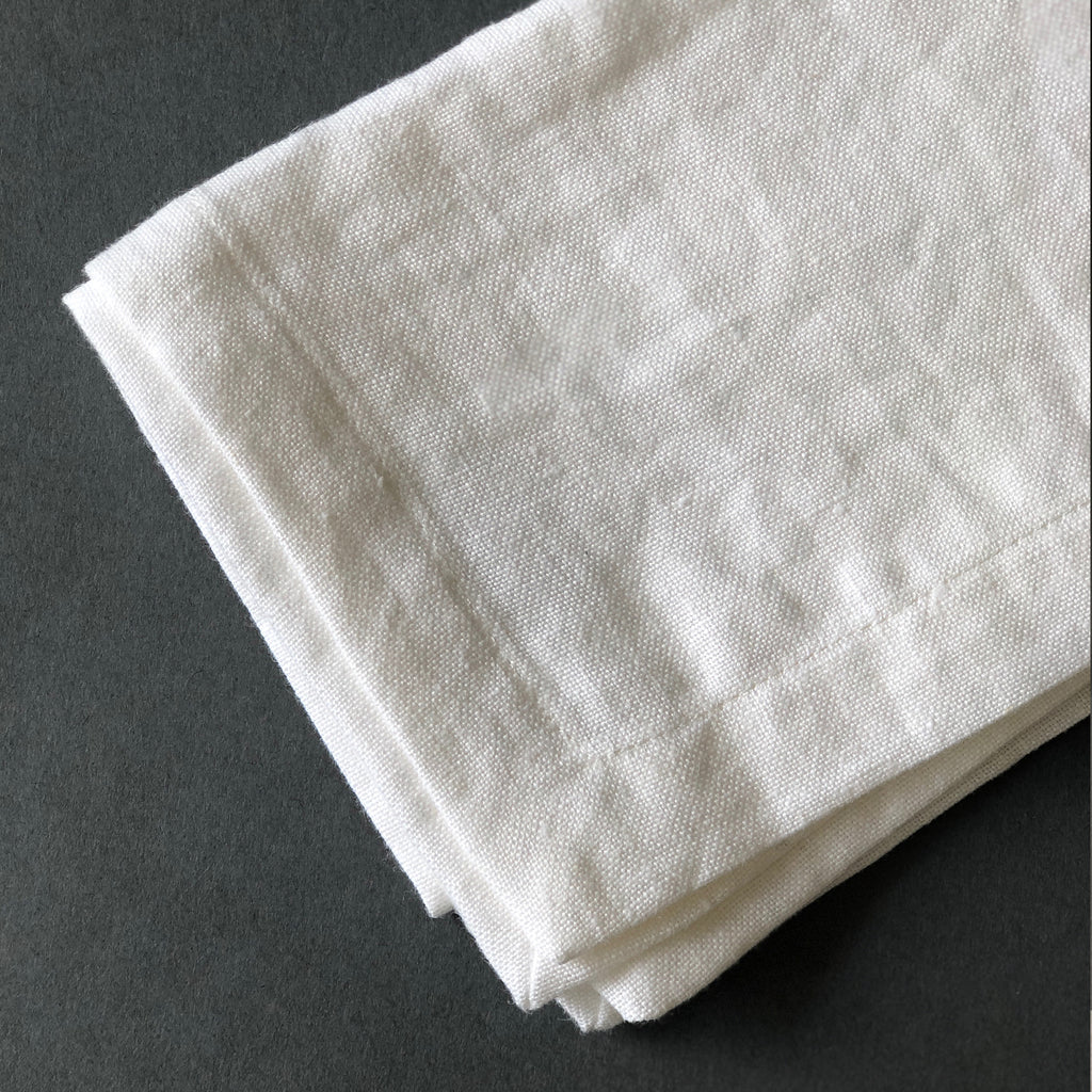 Turned Edge Linen Napkins in White