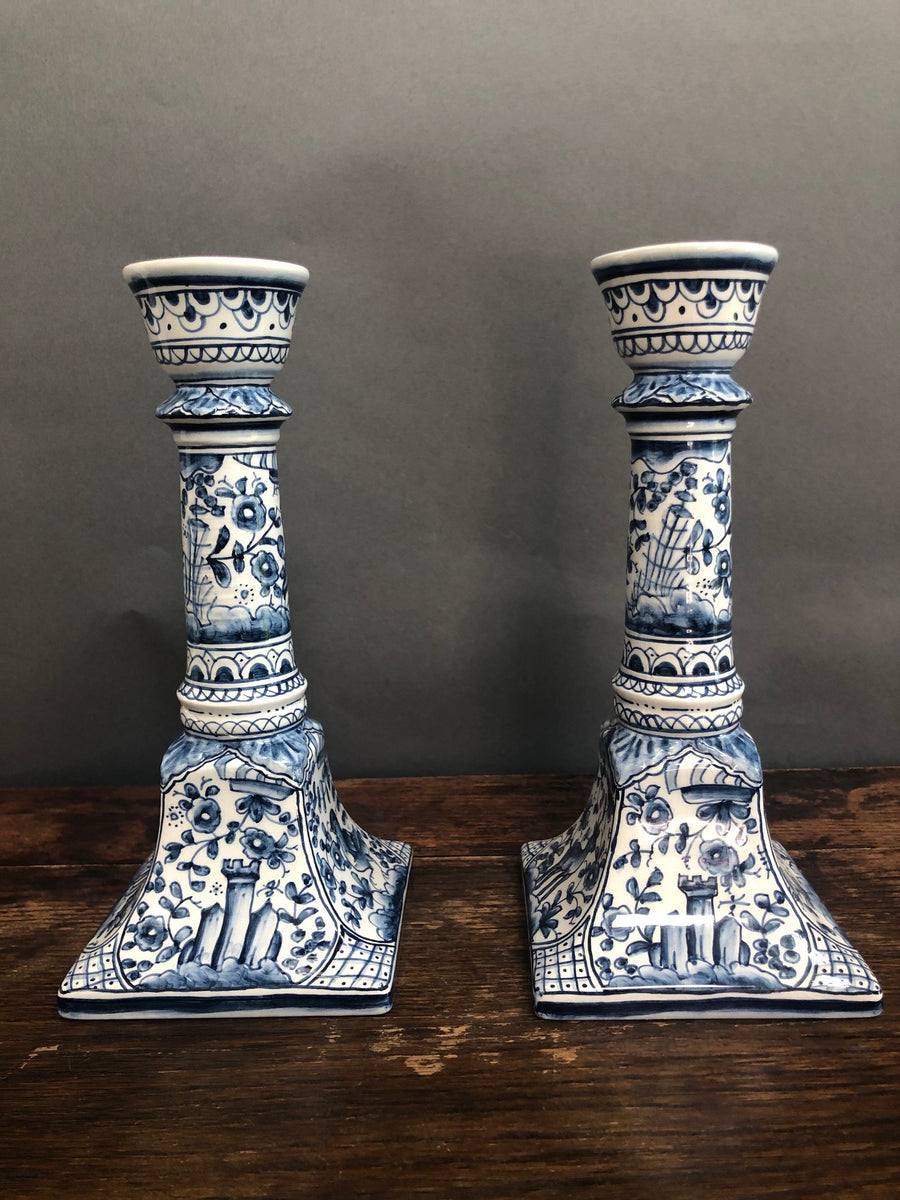 Vintage Hand-Painted Candlesticks from Portugal