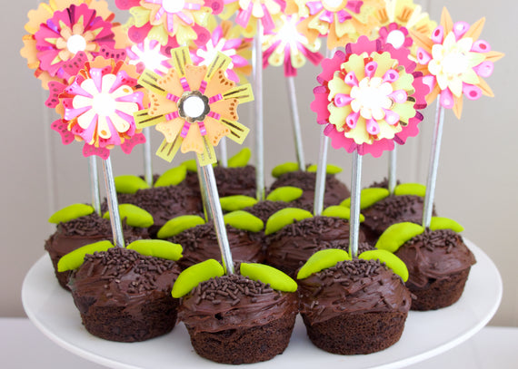 Flashy Flowers Cupcake Toppers - The ultimate DIY party favor!