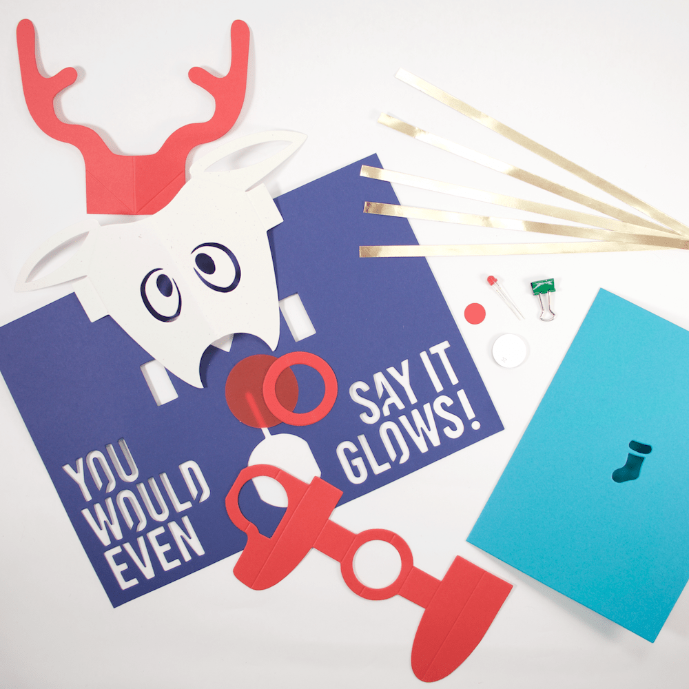 DIY Light-Up Pop-Up Card Kit - Rudolph