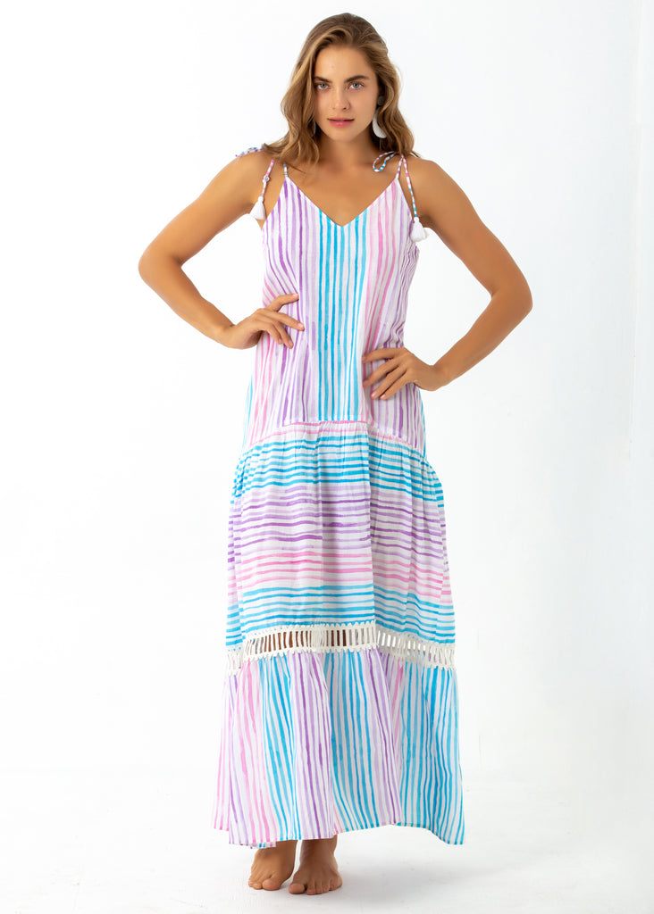 Angelica Maxi dress. Multi Pastel