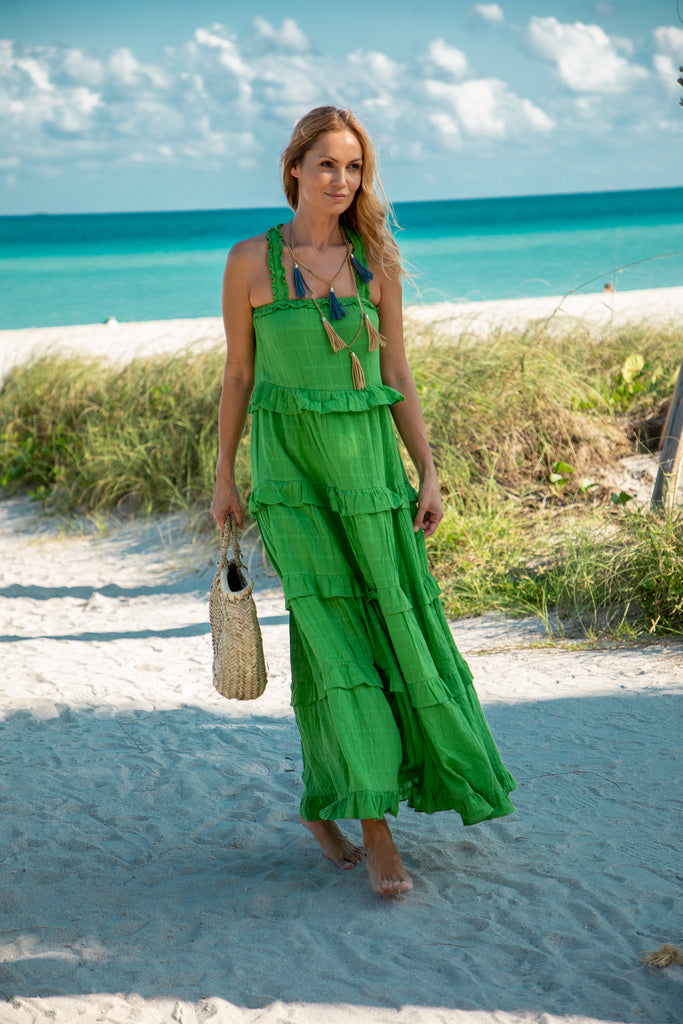 Melita Maxi Dress. Green
