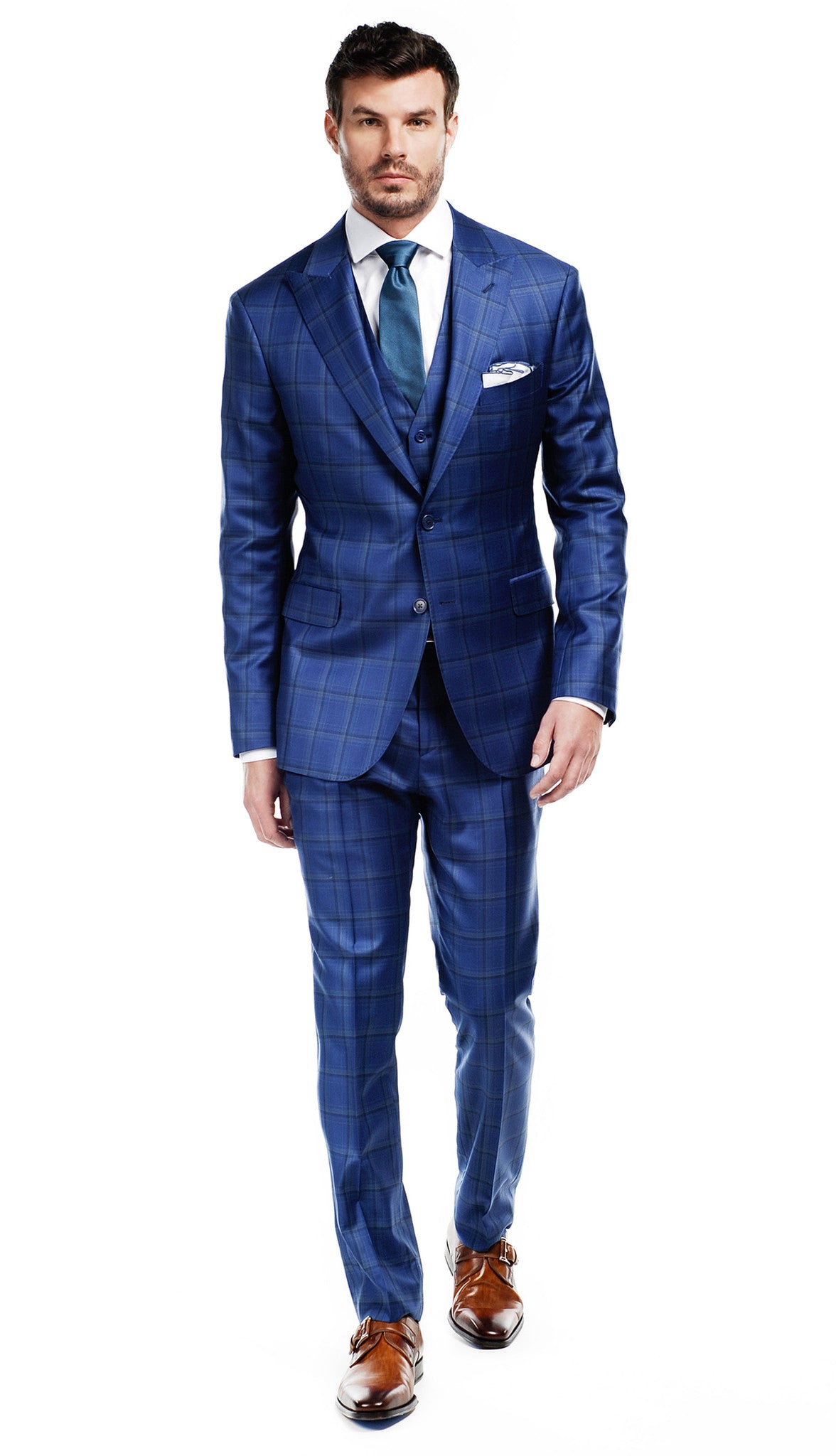 navy and green windowpane suit elevee custom clothing