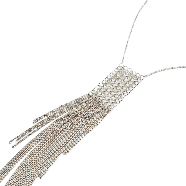 Silver Waterfall Fringe Necklace