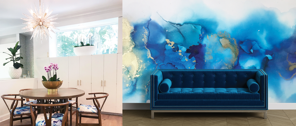 Abstract blues and golds custom interior designer art