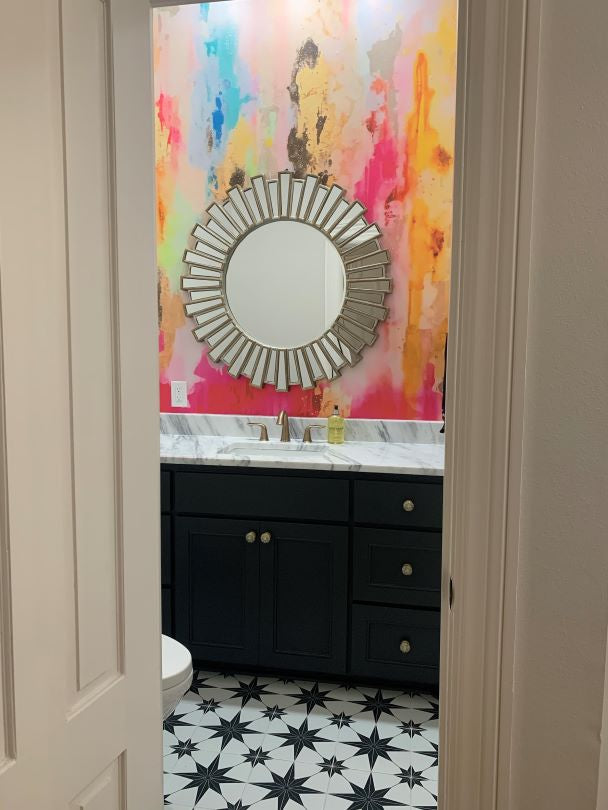 Colorful Powder Room Wallpaper Accent wall behind vanity