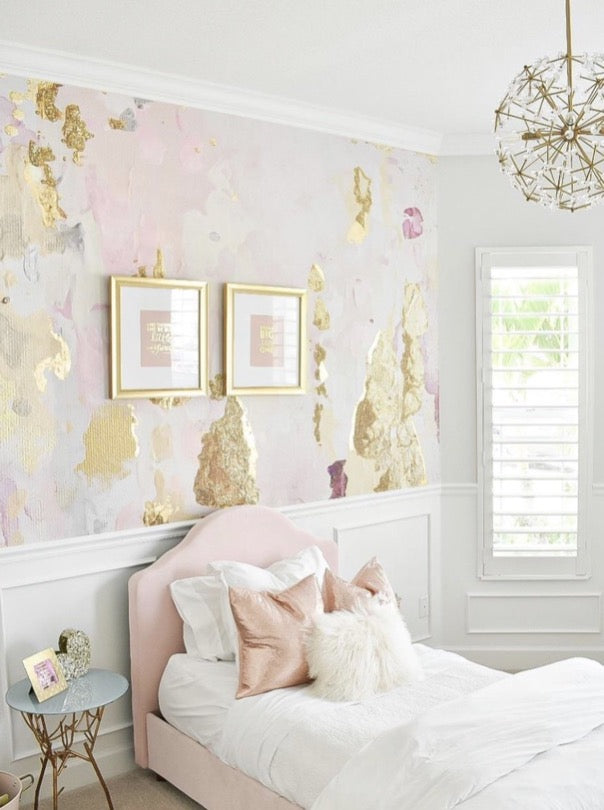 Girls Pink Glam Bedroom Accent Wall