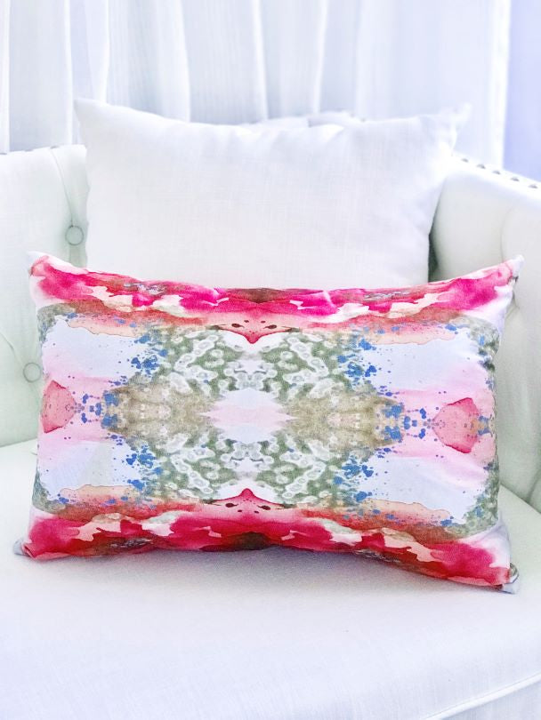 Vivian Ferne pink and gold long decorative pillow for sale