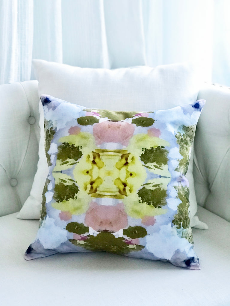 Blush and yellow abstract decorative pillow for sale